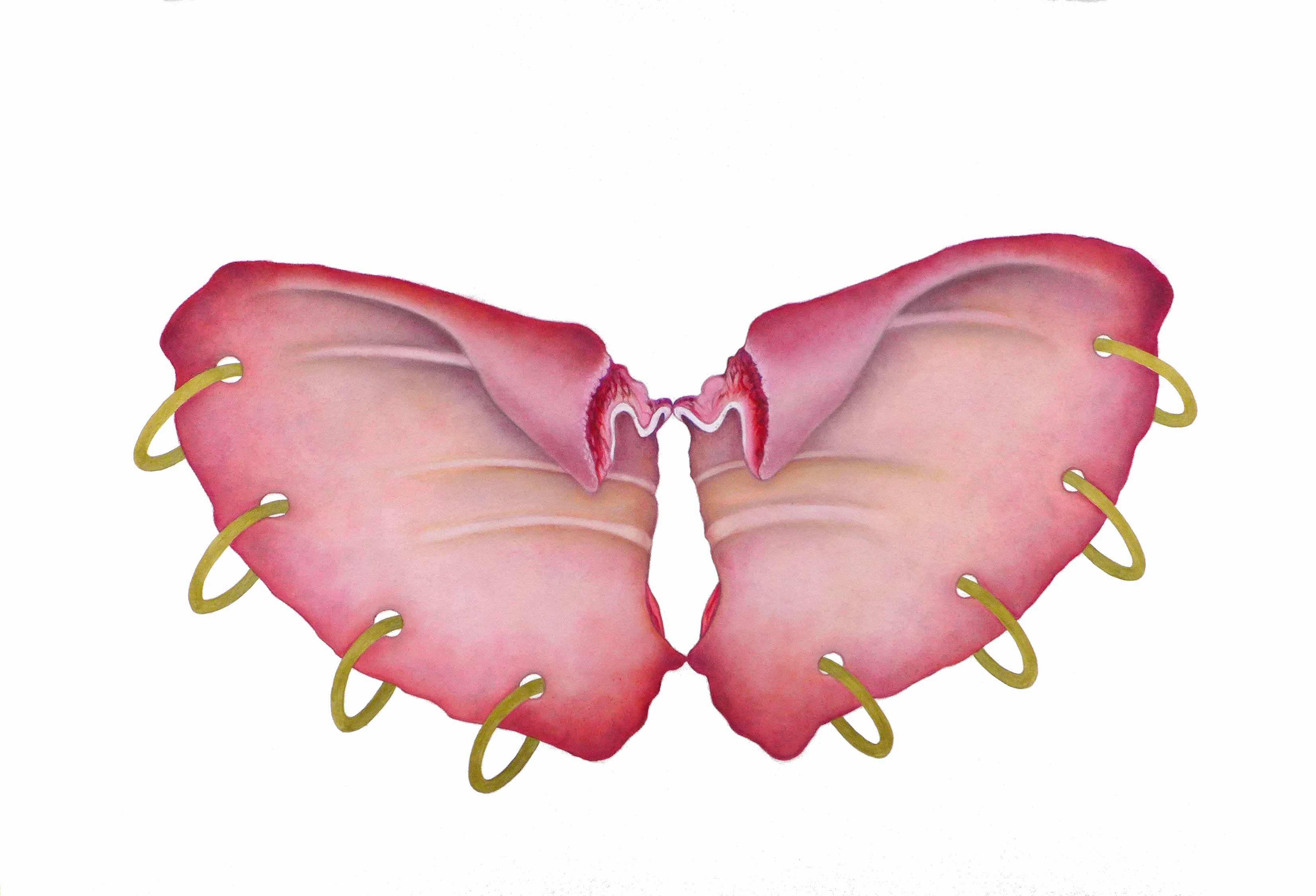 Wilma Stegeman Pink Butterfly Pierced (large)